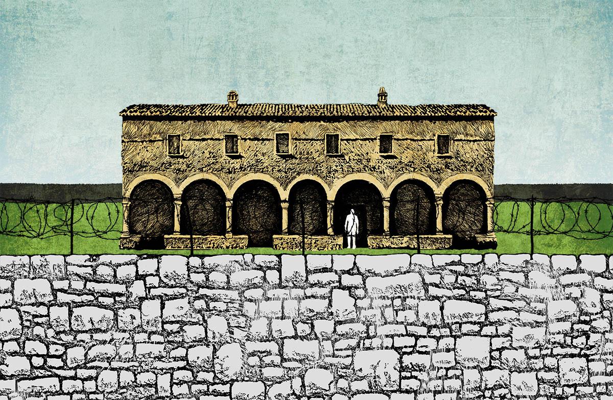 Tegning av kloster med fengselsmur foran